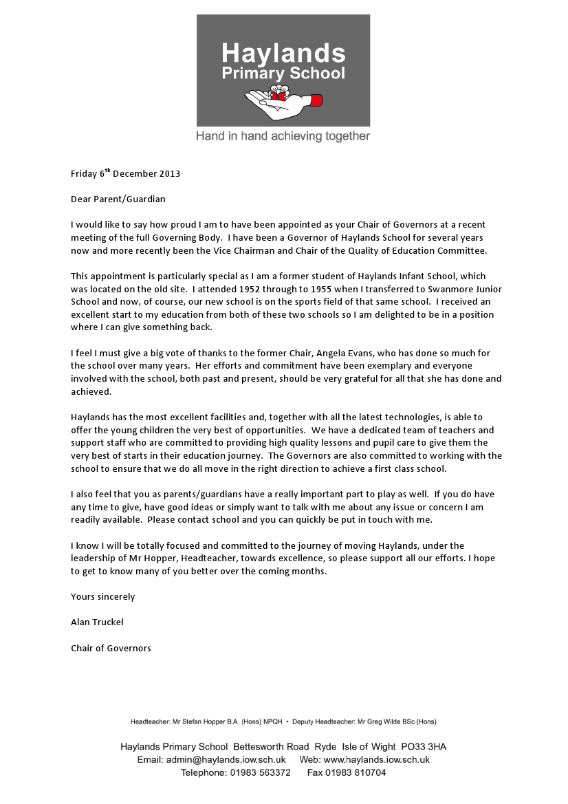 Letter from the Chair of Governors December 2013