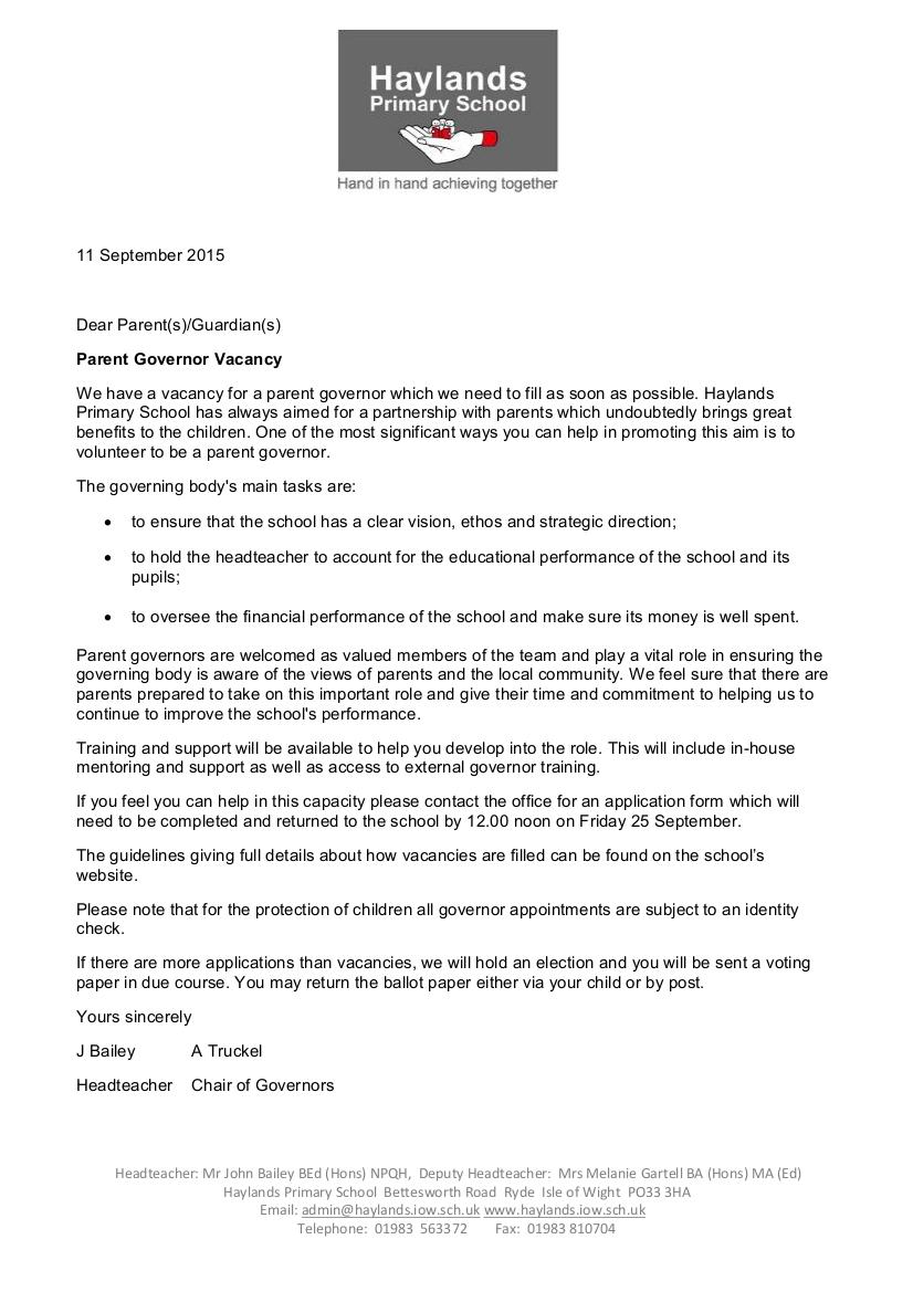 Parent Governor Vacancy Sept 2015